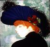 Red haired woman with a blue hat 1890