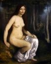 Young woman seated in a forest 1890