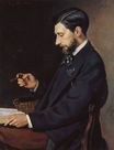 Frederic Bazille most famous paintings. Portrait of Edmond Maitre 1869