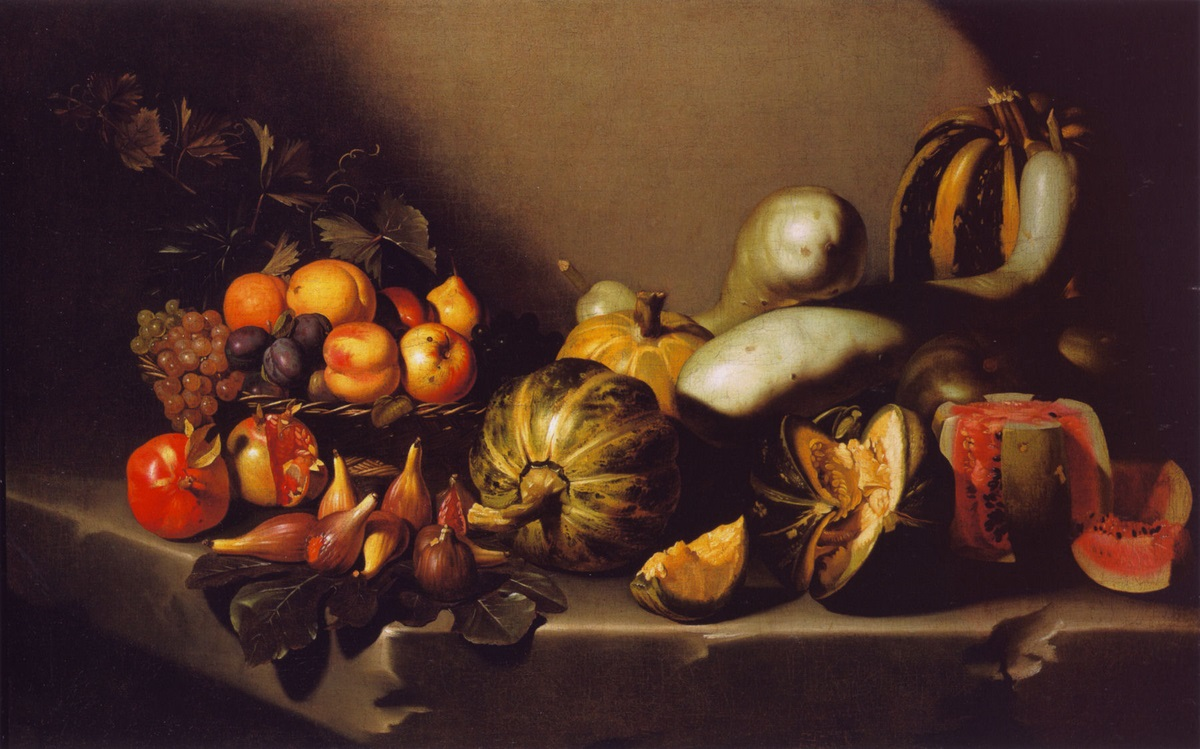 Caravaggio - Still Life with Fruit on a Stone Ledge 1605-1610