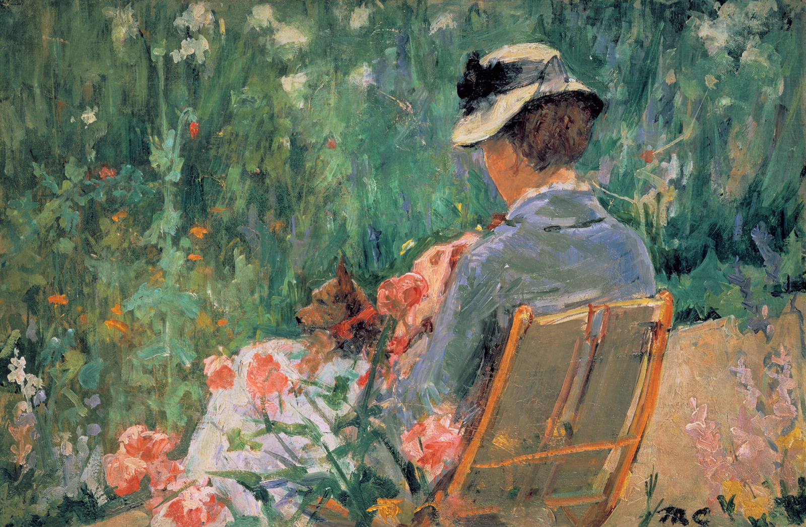 Mary Cassatt - Lydia Seated in the Garden with a Dog in Her Lap 1880