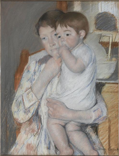 Mary Cassatt - Woman and child in front of a shelf which are placed a jug and basin 1889
