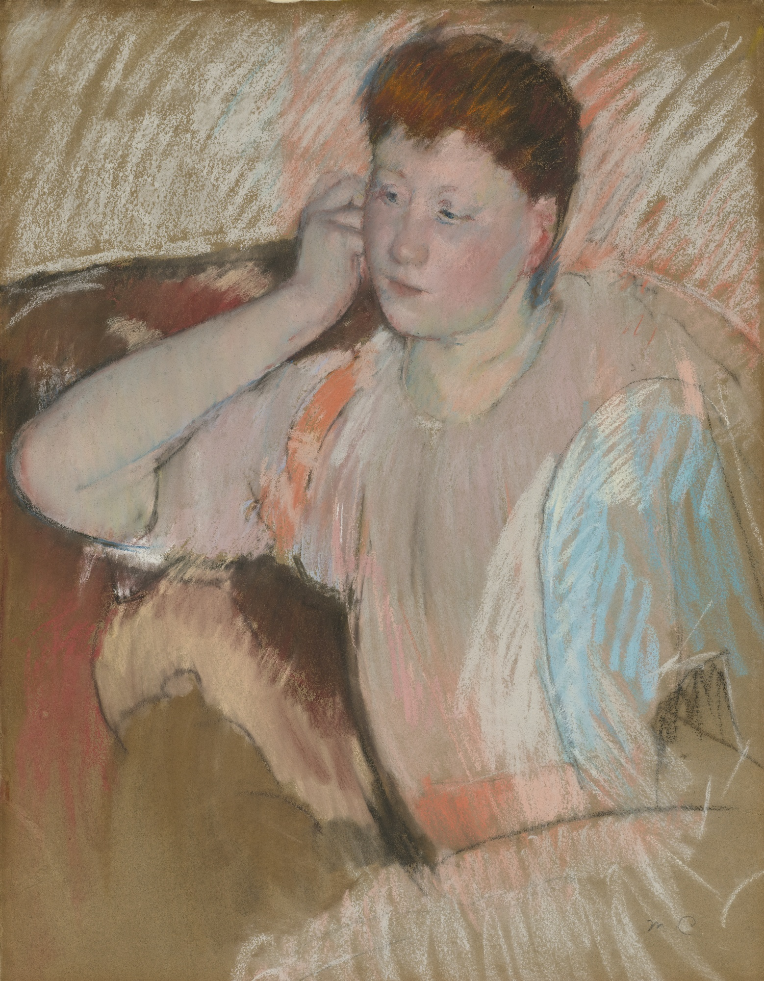 Mary Cassatt - Clissa Turned Left with Her Hand to Her Ear 1890-1893