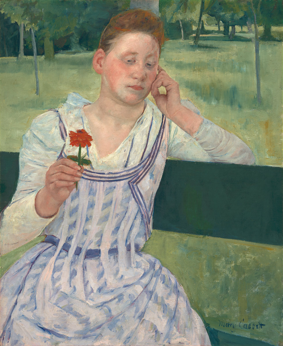 Mary Cassatt - Woman With A Red Zinnia. Reverie 1891