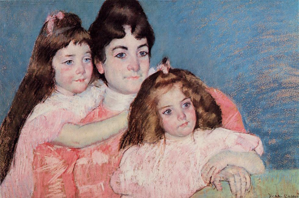 Mary Cassatt - Portrait of Madame A. F. Aude and Her Two Daughters 1899