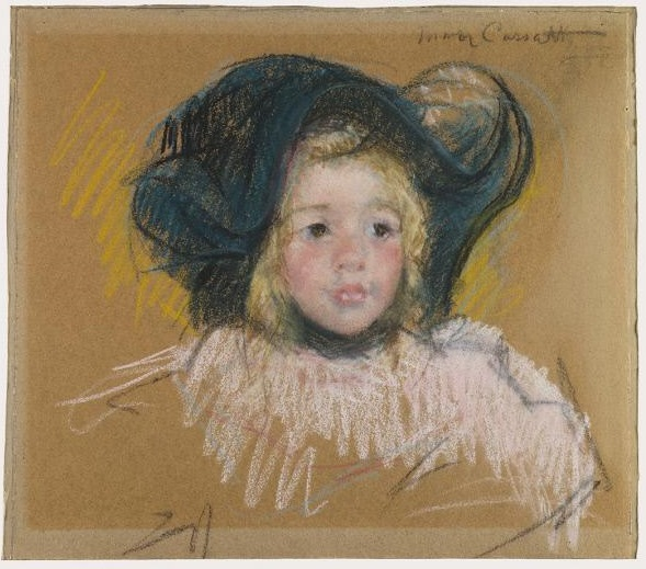Mary Cassatt - Head of Simone in a Green Bonnet with Wavy Brim (No. 2) 1904