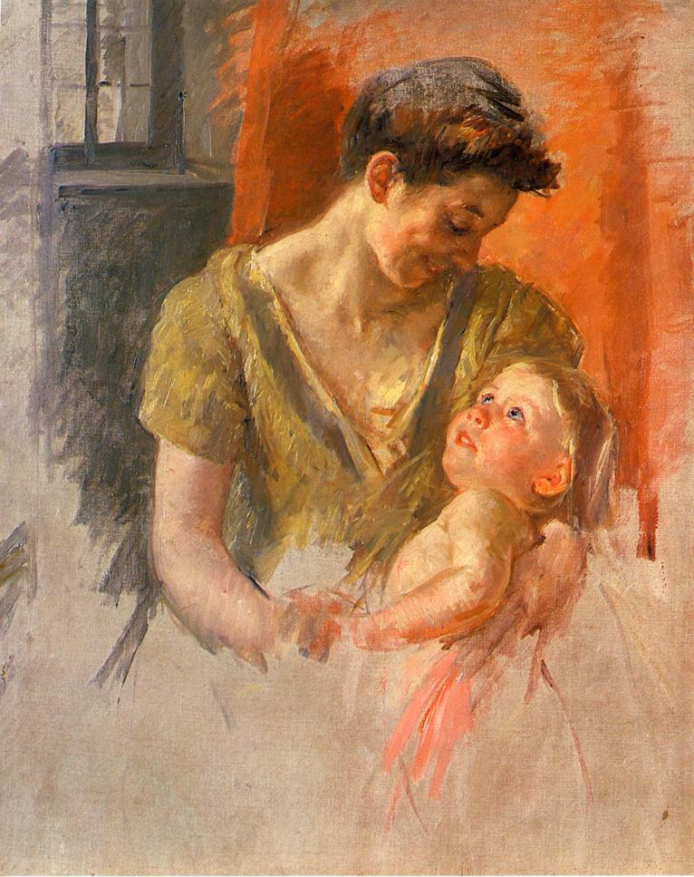 Mary Cassatt - Mother and Child Smiling at Each Other 1908