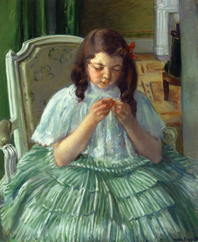 Mary Cassatt - Françoise in Green, Sewing 1908-1909