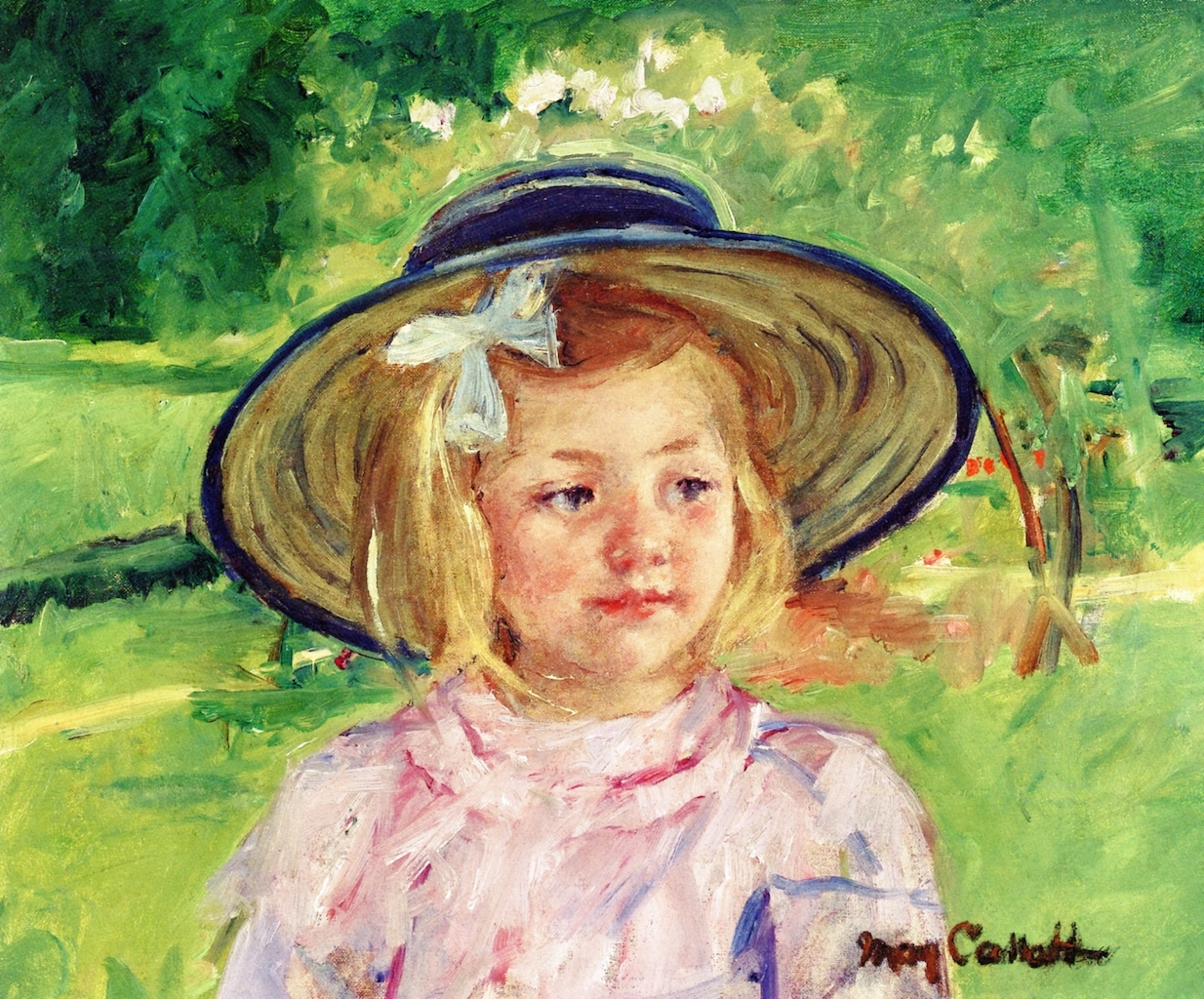 Mary Cassatt - Little Girl in a Stiff, Round Hat, Looking to Right in a Sunny Garden 1909