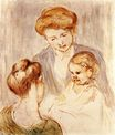 Mary Cassatt - A Baby Smiling at Two Young Women 1873