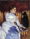 Mary Cassatt - Woman on a Striped with a Dog. Young Woman on a Striped Sofa with Her Dog 1875