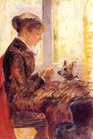 Mary Cassatt - Woman by a Window Feeding Her Dog 1880