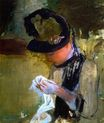 Mary Cassatt - Woman in Black and Green Bonnet, Sewing 1880