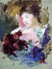 Mary Cassatt - Young Girl Holding a Loose Bouquet 1880
