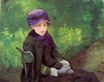 Mary Cassatt - Susan Seated Outdoors Wearing a Purple Hat 1881