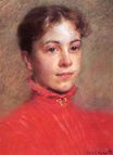Mary Cassatt - Portrait of a Young Woman in a Red Dress 1882