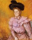 Mary Cassatt - Woman in a Black Hat and a Raspberry Pink Costume 1900