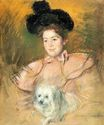 Mary Cassatt - Woman in Raspberry Costume Holding a Dog 1900