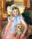 Mary Cassatt - Sara in a Large Flowered Hat Looking Right Holding Her Dog 1902