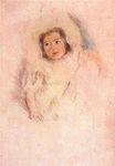 Mary Cassatt - Margot Wearing a Bonnet drypoint with hand coloring 1903