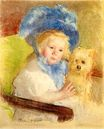 Mary Cassatt - Simone in a Large Plumed Hat, Seated, Holding a Griffon Dog 1903