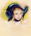 Mary Cassatt - Head of Simone in a Green Bonnet with Wavy Brim 1904