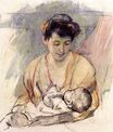 Mary Cassatt - Mother Rose Looking down on Her Sleeping Baby 1908