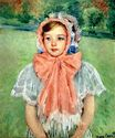 Mary Cassatt - Girl in a Bonnet Tied with a Large Pink Bow 1909