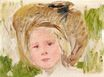 Mary Cassatt - Sketch of Head of a Girl with a Black Rosette 1910