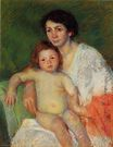 Mary Cassatt - Nude Baby on Mother`s Lap Resting Her arm on the Back of the Chair 1913