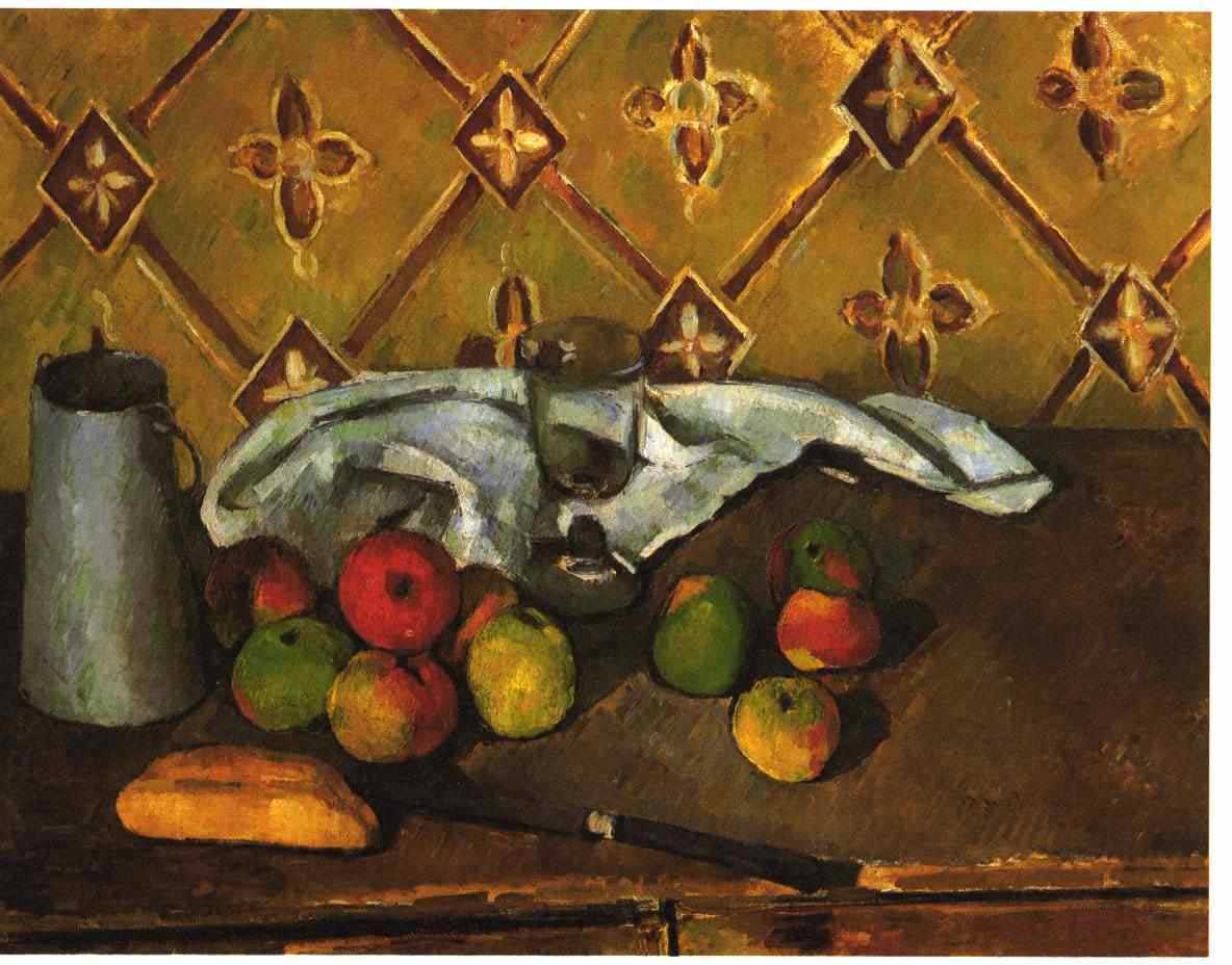 Still life with apples servettes and a milkcan 1880