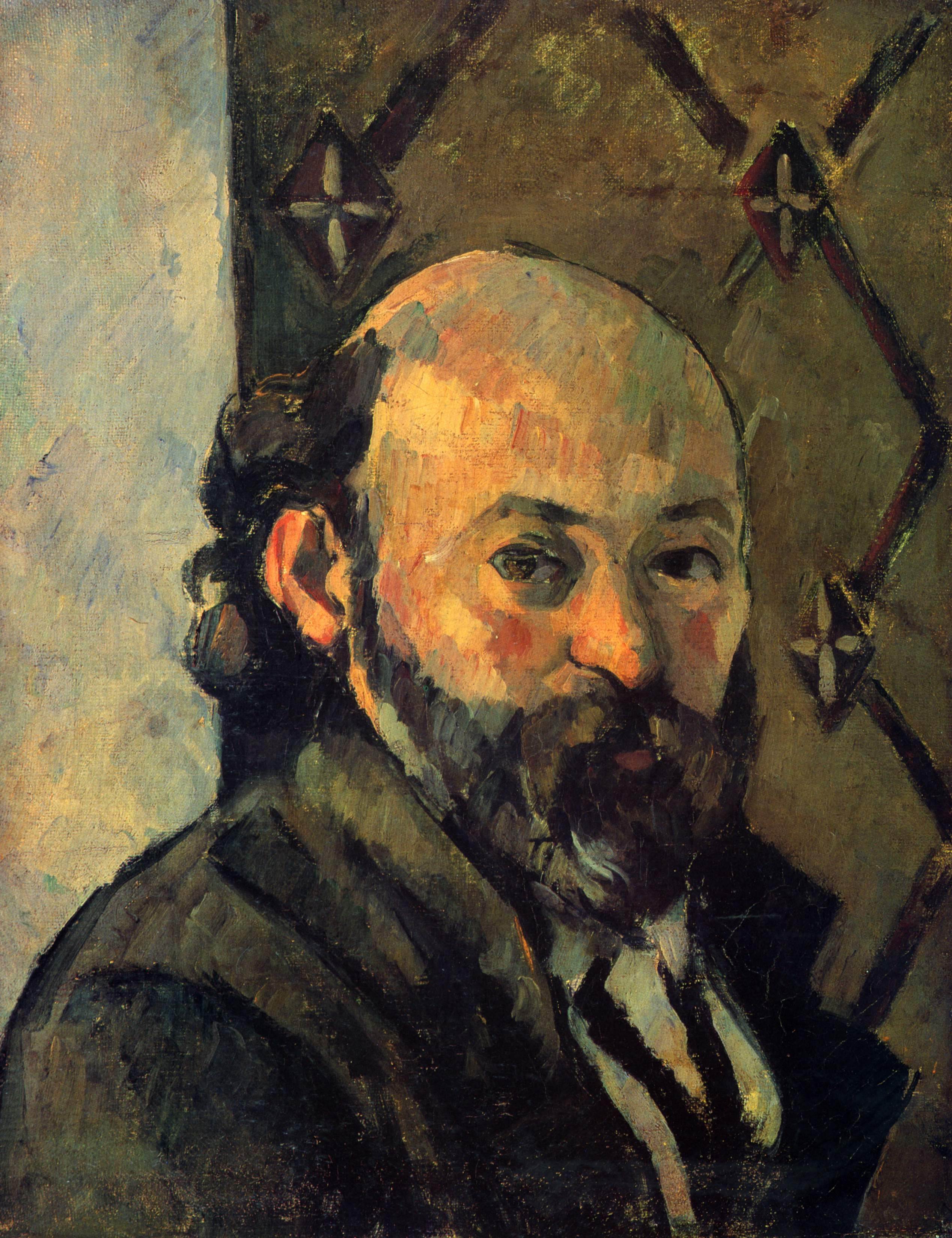 Self-portrait in front of olive wallpaper 1881