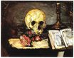 Still life with skull candle and book 1866