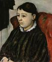 Madame Cezanne in a striped rob 1884