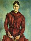 Portrait of Madame Cezanne in a red dress 1890