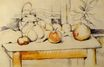 Pot of ginger and fruits on a table 1890