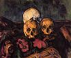 Three skulls on a patterned carpet 1900