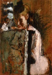 Edgar Degas - Girl Sewing a Label on an Armchair 1889