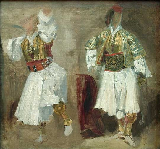 Two Views of costumes Souliote 1824-1825