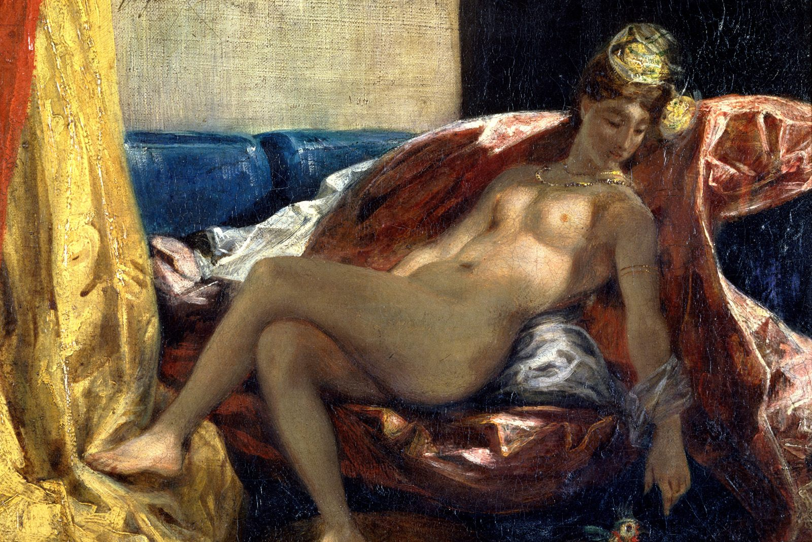 Reclining Odalisque, Woman with a Parakeet 1827
