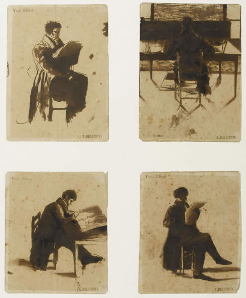 Four Views of men sitting 1838