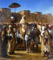 Muley Abd-ar-Rhaman, The Sultan of Morocco, leaving his Palace of Meknes with his entourage 1845