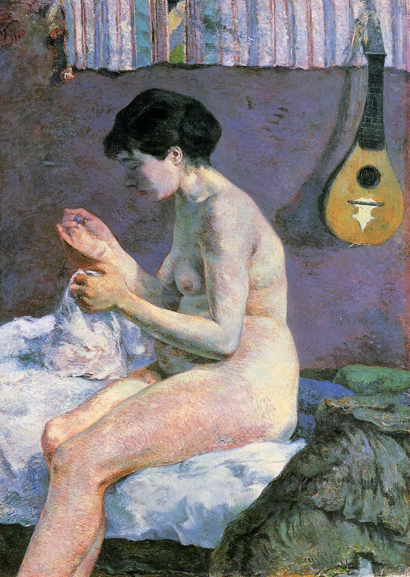 Paul Gauguin - Suzanne Sewing - Study of a Nude 1880