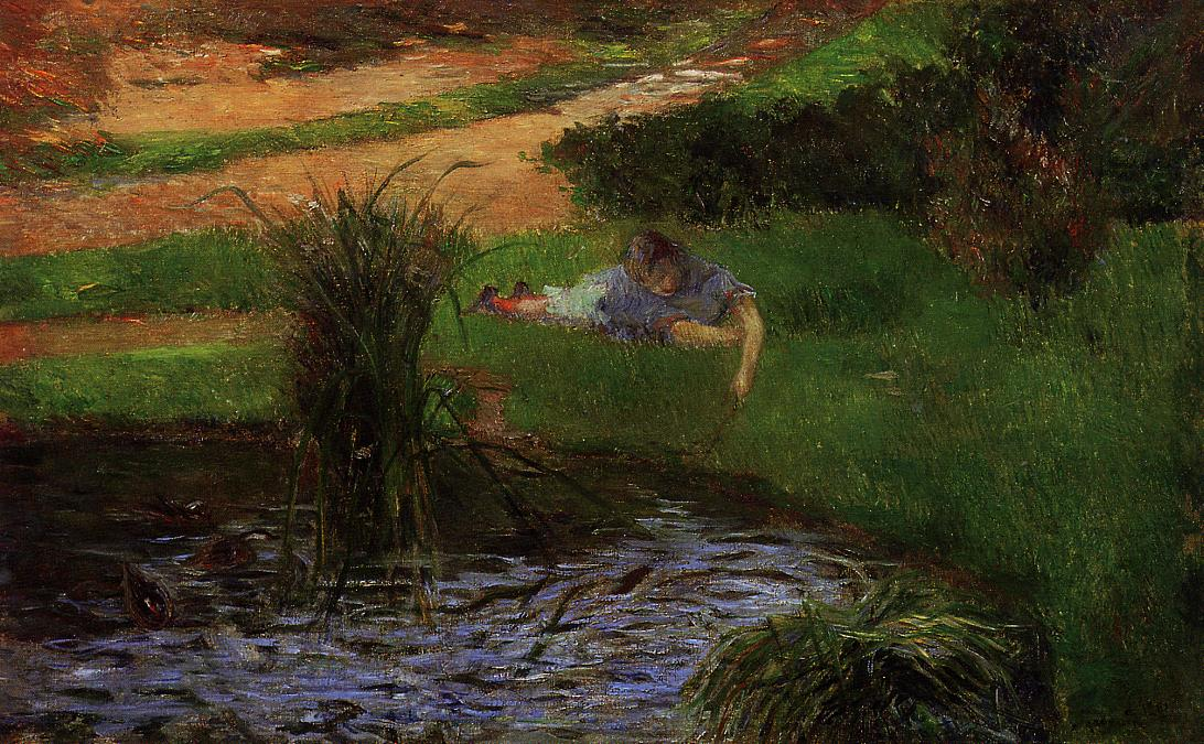 Paul Gauguin - Pond with Ducks. Girl Amusing Herself 1881