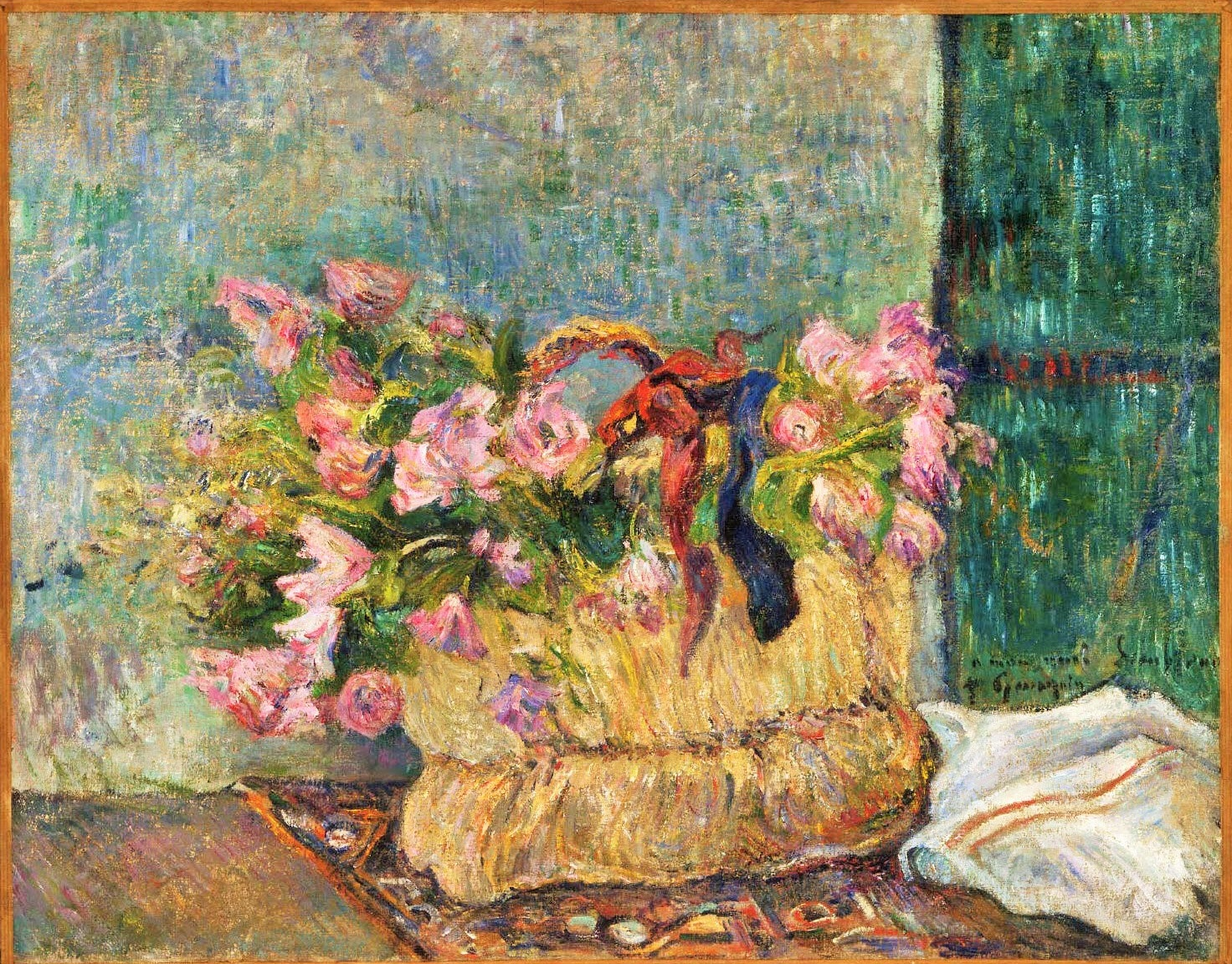 Paul Gauguin - Still Life with Moss Roses in a Basket 1884