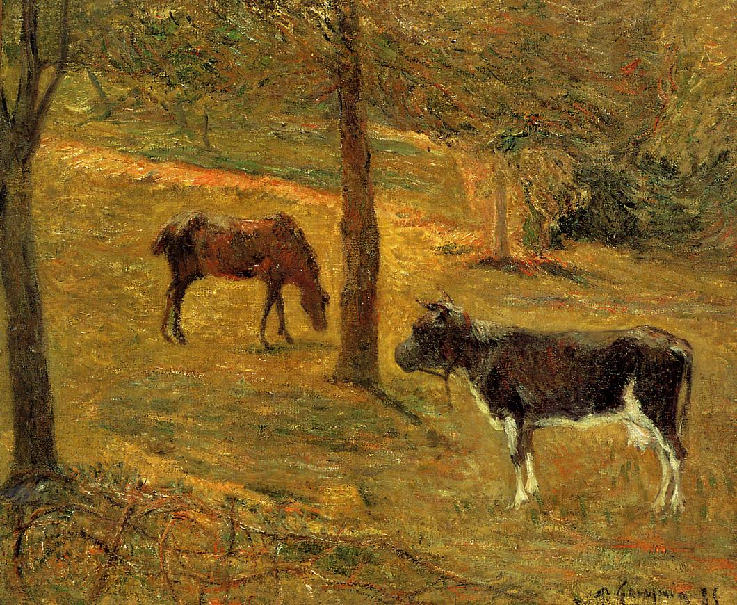 Paul Gauguin - Horse and Cow in a Meadow 1885