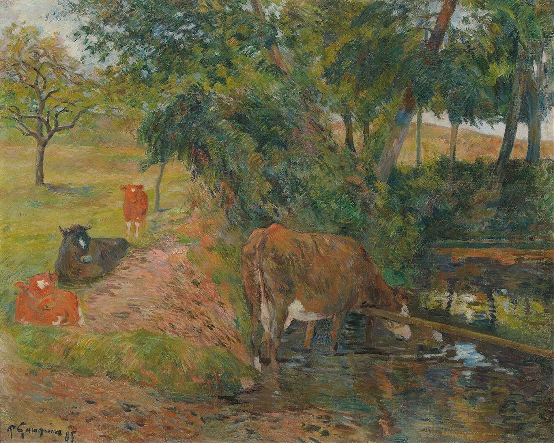 Paul Gauguin - Landscape with cows in an Orchard 1885