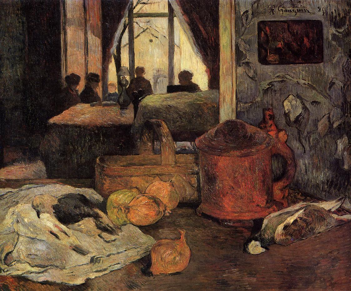 Paul Gauguin - Still life of onions and pigeons and room interior in Copenhagen 1885
