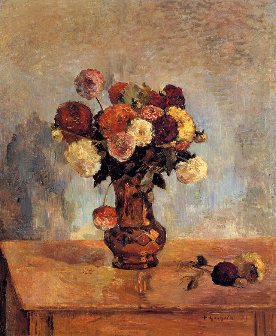 Paul Gauguin - Dahlias in a copper vase 1885