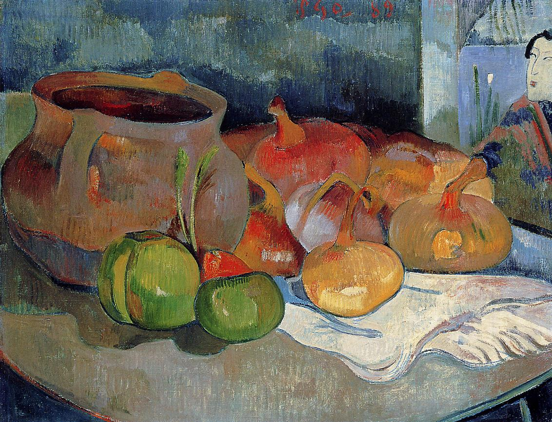 Paul Gauguin - Still life with onions, beetroot and Japanese print 1889